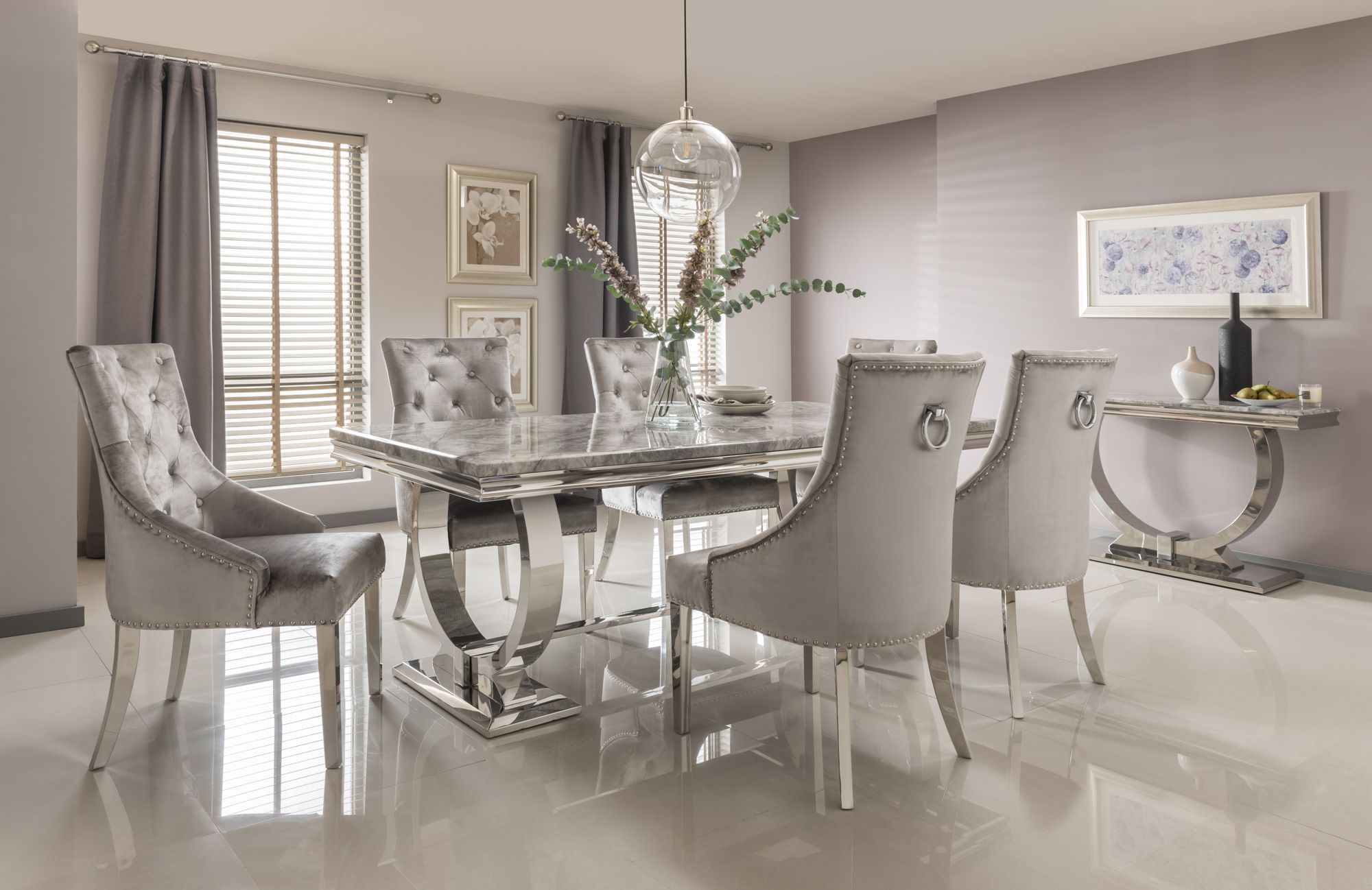 Next & The Chicago Grey Dining Table with Dark or Light Grey Chairs ...