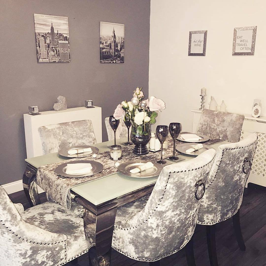 White Mirror Dining Table With Silver Velvet Chairs U C