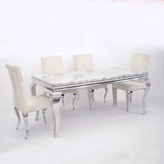 Imperial Cream Marble Dining Table With Cream Velvet