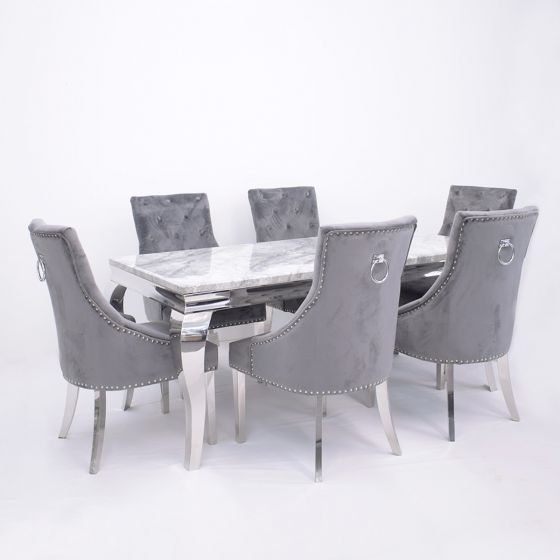 Imperial Grey Marble Dining Table With Dark Or Light Grey