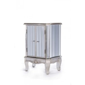 Wooden French Vintage Style Two door cabinet, with ornamental carpentry features, distressed silver painted finish, mirrored paneling on all sides and crystal handles