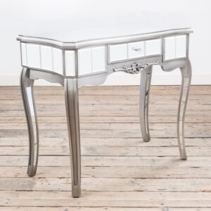 French Vintage Console Table with long curved distressed silver finished, mirrored panelling and small drawer.