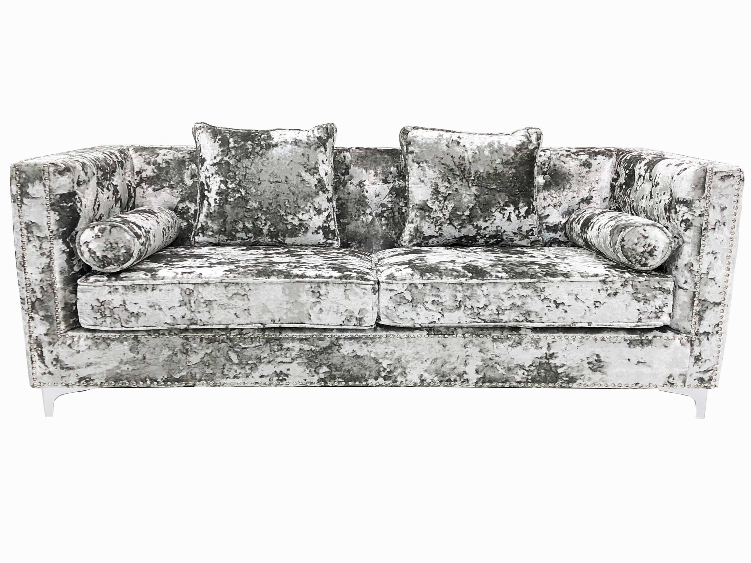 Picture of: Double Crush Velvet 3 Seater Sofa A C