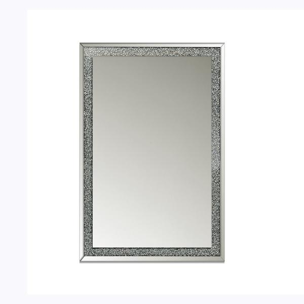 Large rectangular mirror with jewel encrusted mirrored frame