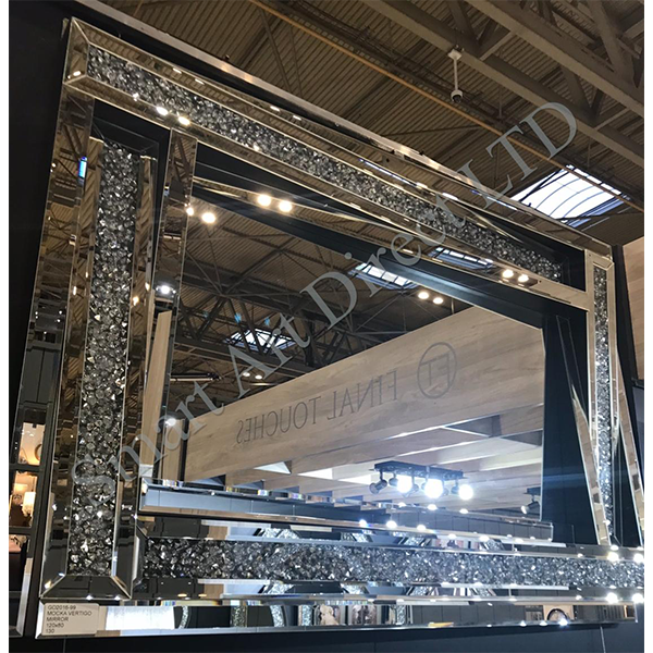 Diamond Crush rectangular mirror with a raised mirrored frame and diamond filled paneling
